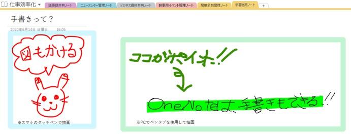 OneNoteでの手書きの例(スマホ/PC)
